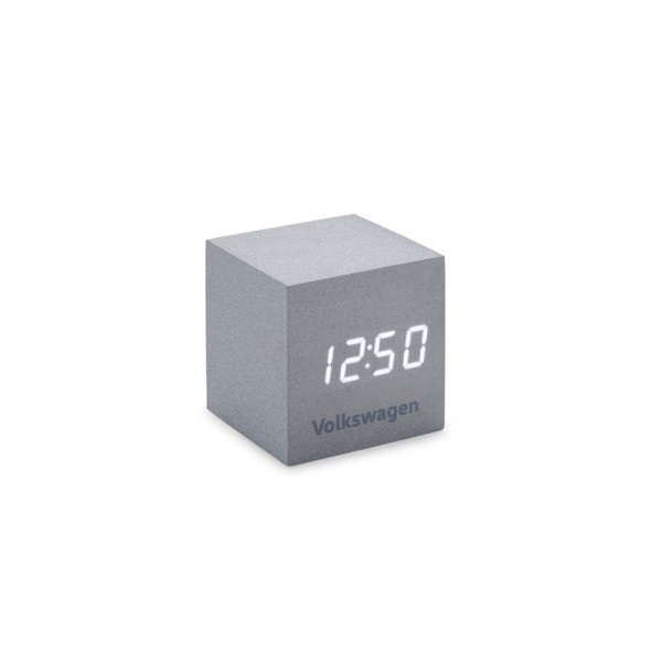 Original Volkswagen Wecker Würfelform silber LED Display Uhr