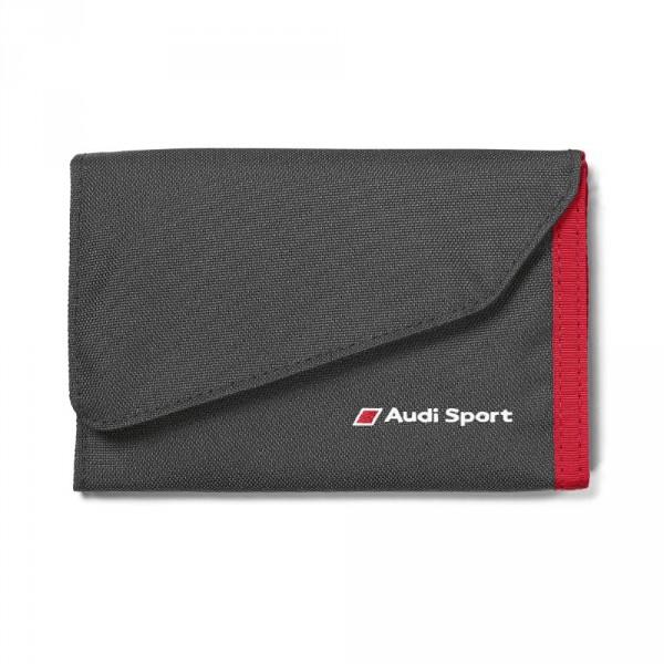 Original Audi Sport Geldbörse Portemonnaie schwarz/rot mit Klettverschluss