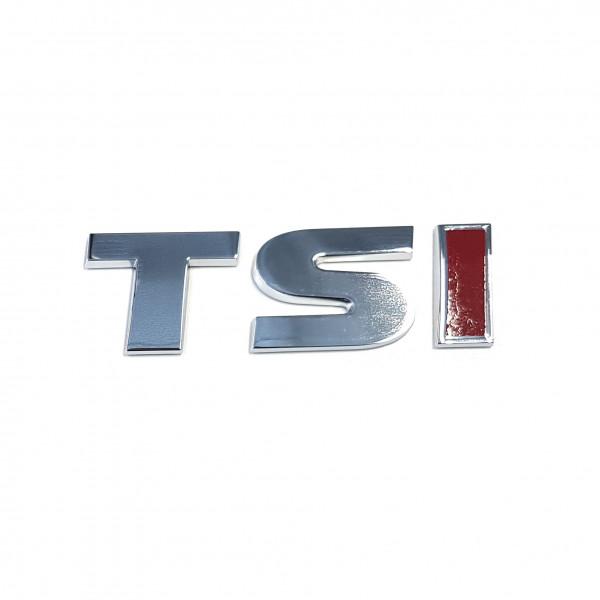 Original VW Schriftzug TSI (rotes I) Emblem Logo Aufkleber chrom glänzend