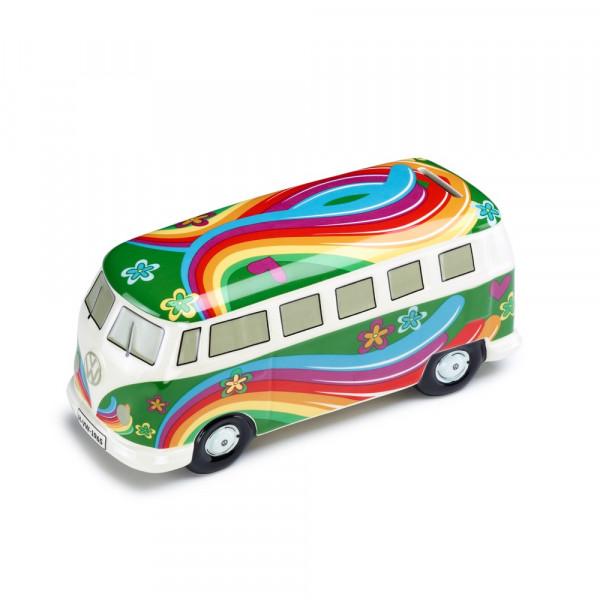Original VW Bulli Spardose Flower Power T1 Bus grün 211087709DAUN
