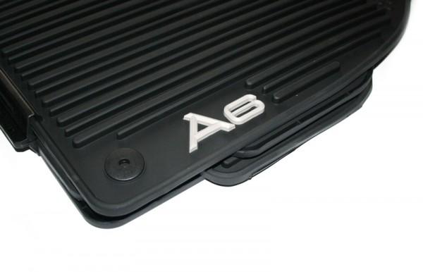 Original Audi A6 S6 Gummi Fußmatten Monster Mat weißer Schriftzug Gummimatten v+h schwarz