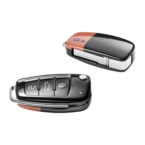 Audi Q3 Schlüsselblende Original Key Cover Schlüssel pulsorange/brillantschwarz