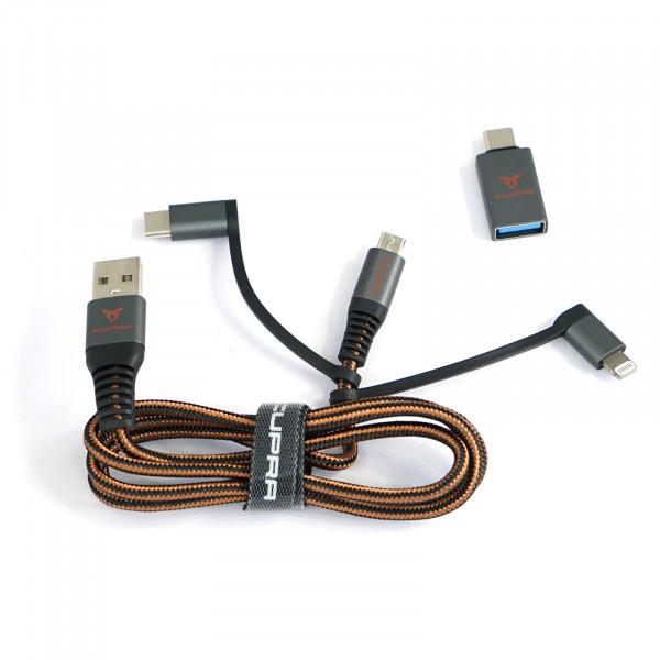 Original Seat CUPRA 3-in-1 Anschlusskabel USB zu USB-C Adapter Kabel Adapterkabel