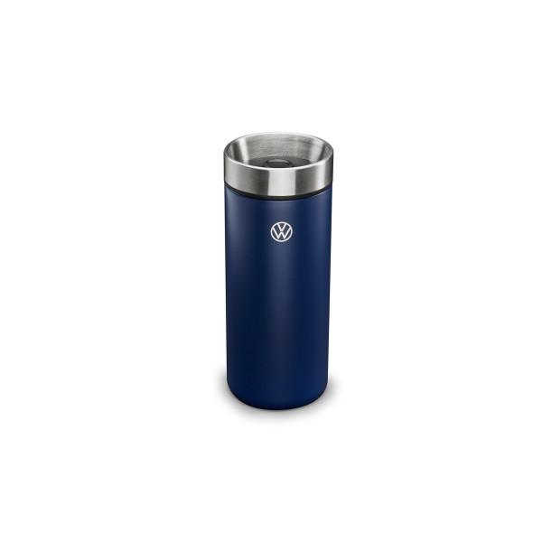 Original VW Thermobecher New Volkswagen Trinkflasche Edelstahl Lasergravur blau 5H0069604