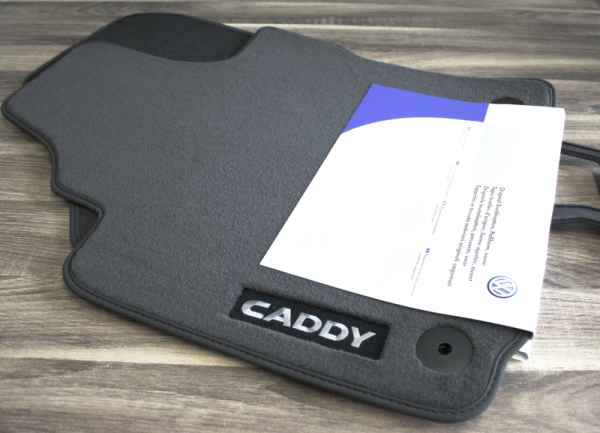 Caddy Velours Stoff Fußmatten Premium vorn Textilfußmatten