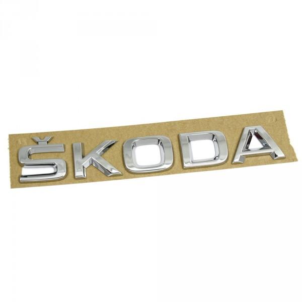 Original Skoda Schriftzug Heckklappe hinten Emblem Logo Zeichen chrom
