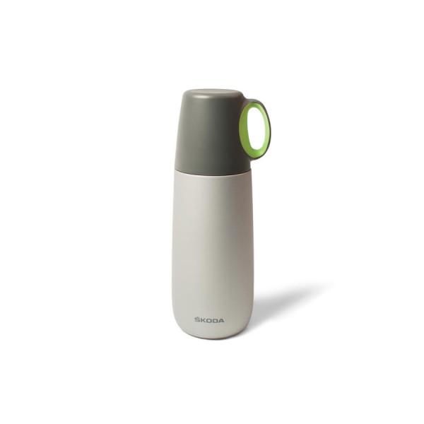 Original Skoda Thermosflasche Isolierflasche Thermoskanne Becher grau 600 ml